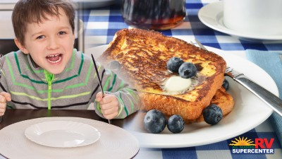 Hungry Boy And French Toast With Blueberries