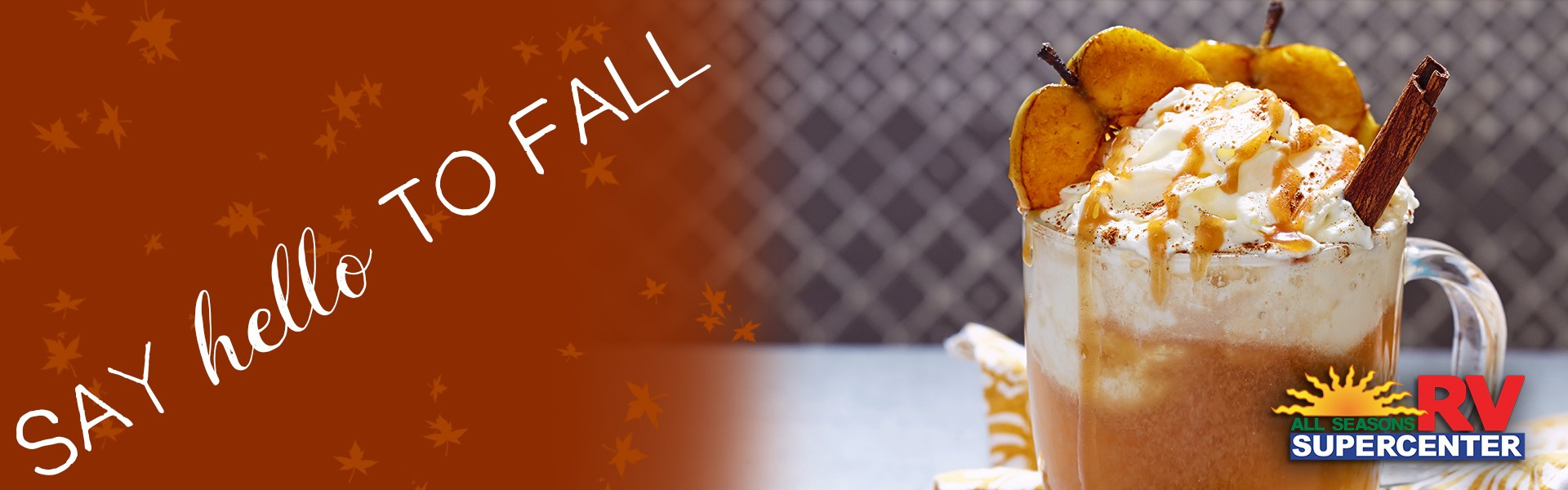Say hello to fall apple cider float against tile background
