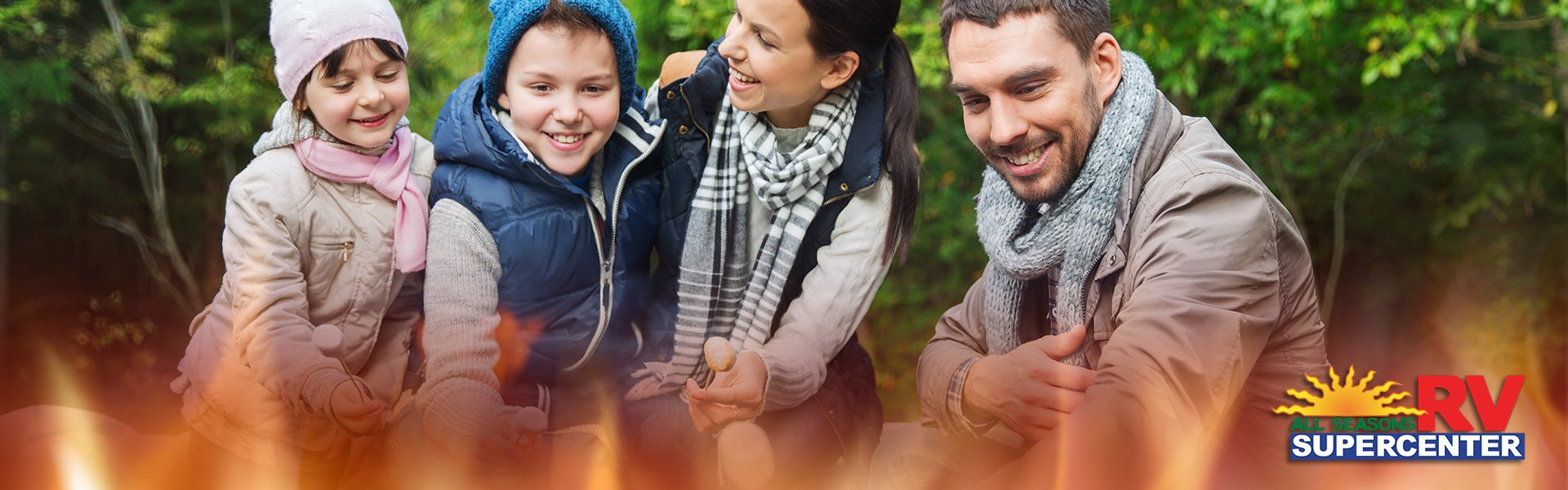 Family around bonfire - Keeping your little ones safe around a campfire