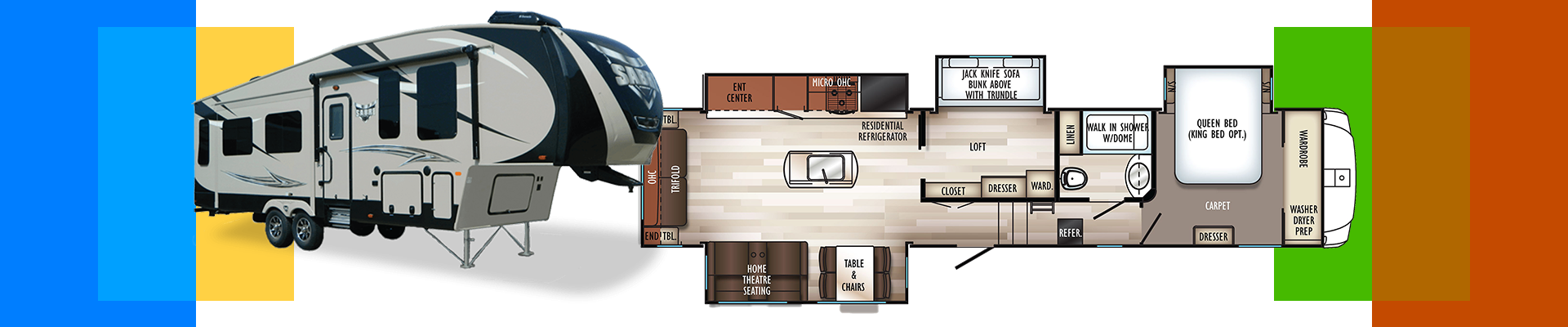Camp all year round in the four-season Sabre RV