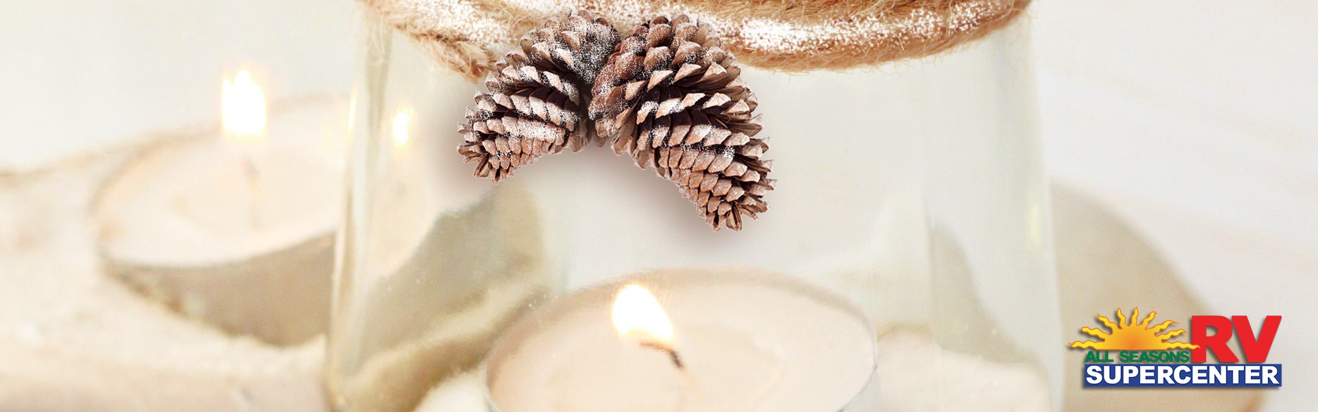 DIY Winter Decorated Mason Jar Candles