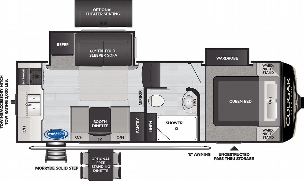 Cougar Half Ton 23MLS Floor Plan - 2021