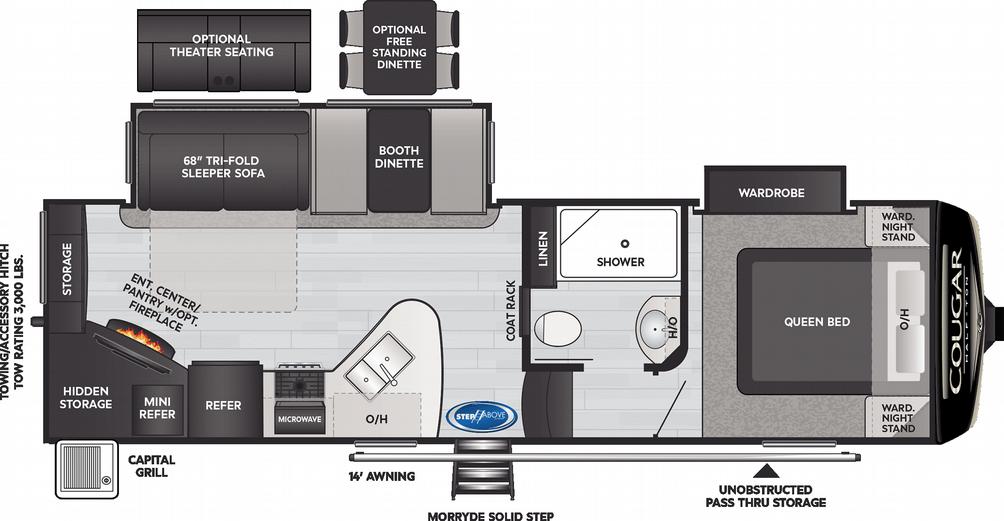 Cougar Half Ton 25RES Floor Plan - 2021
