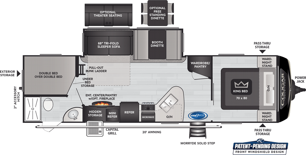 Cougar Half Ton 29BHS Floor Plan - 2021
