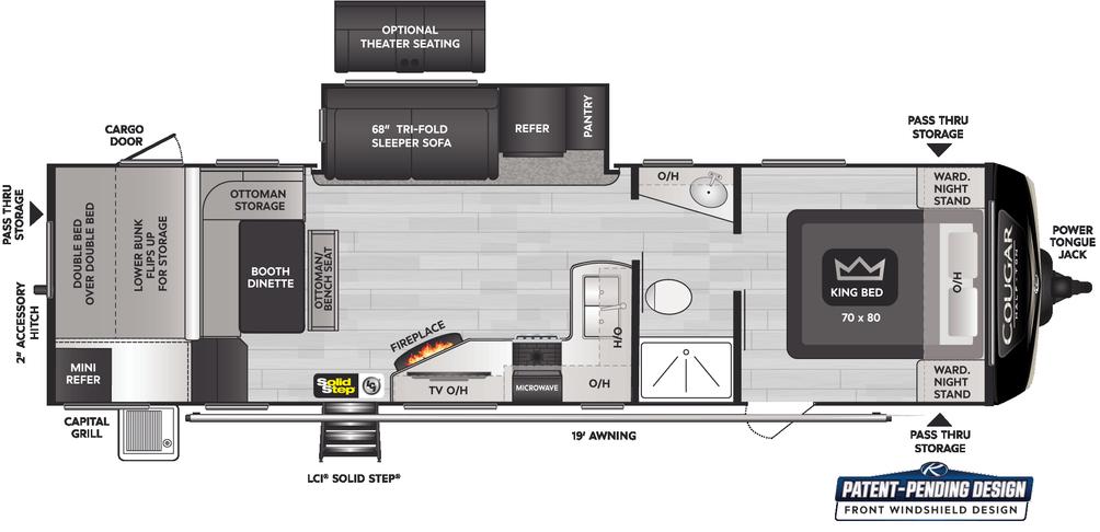 Cougar Half Ton 30BHS Floor Plan - 2022