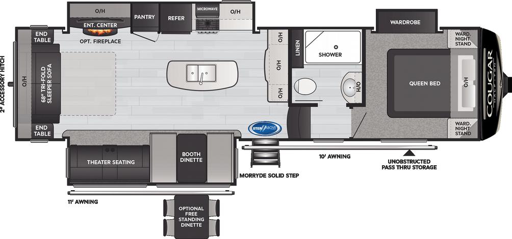 Cougar Half Ton 30RLS Floor Plan - 2021