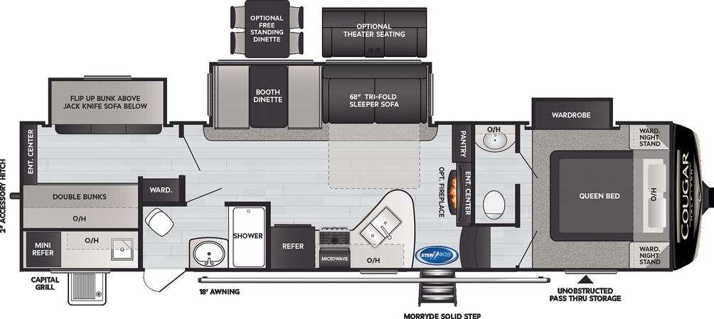 Cougar Half Ton 32BHS Floor Plan - 2021