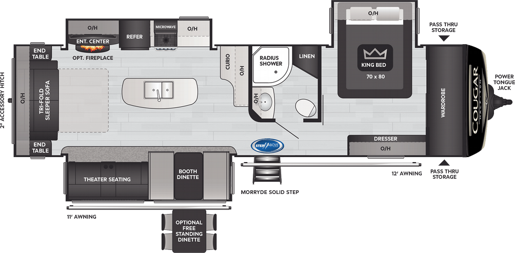 Cougar Half Ton 32RLI Floor Plan - 2021
