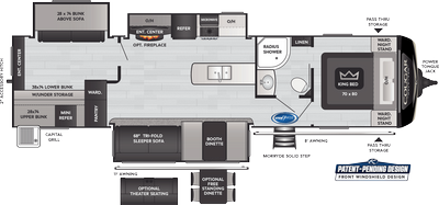 Cougar Half Ton 34TSB Floor Plan - 2021