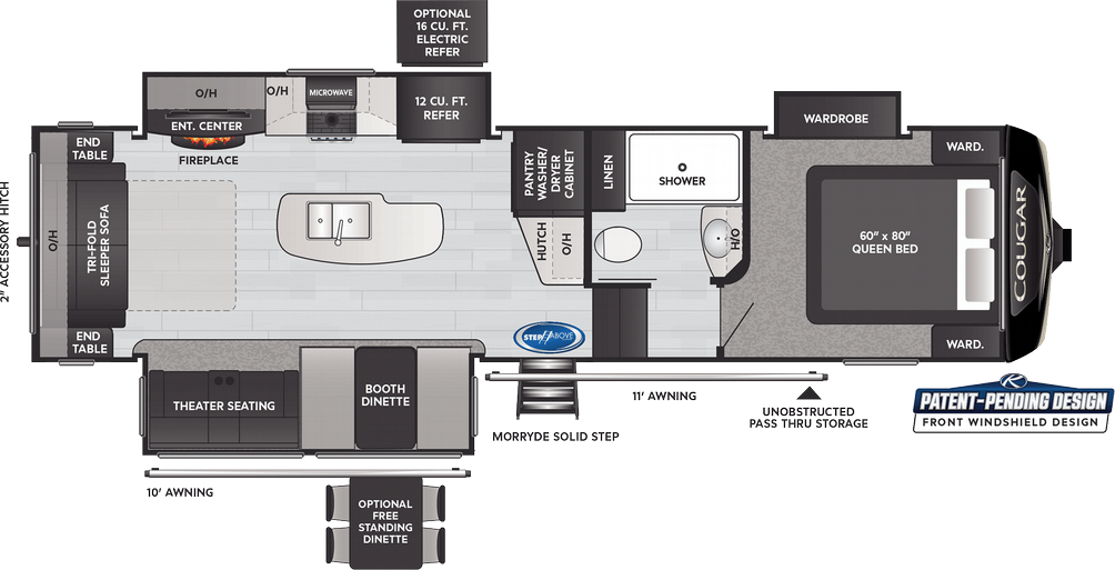 Cougar 290RLS Floor Plan - 2021