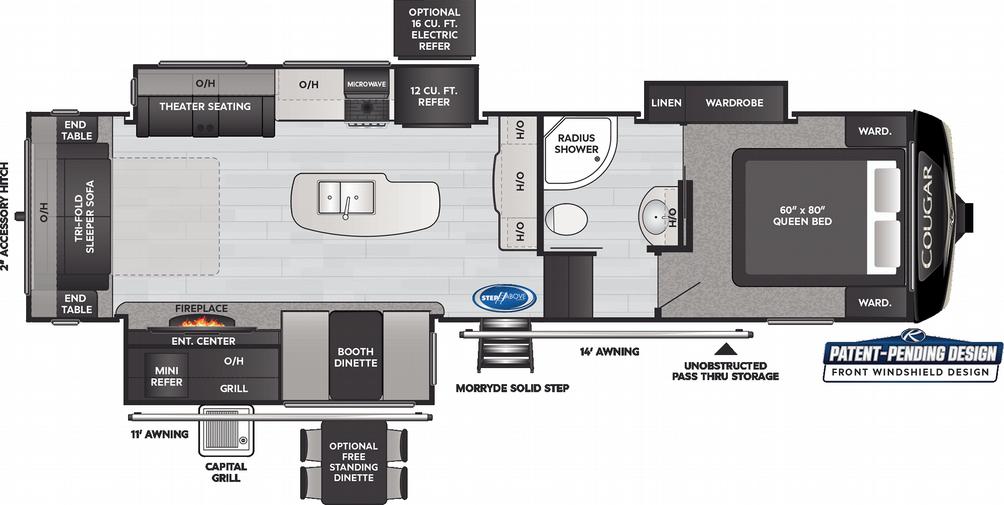 Cougar 302RLS Floor Plan - 2021