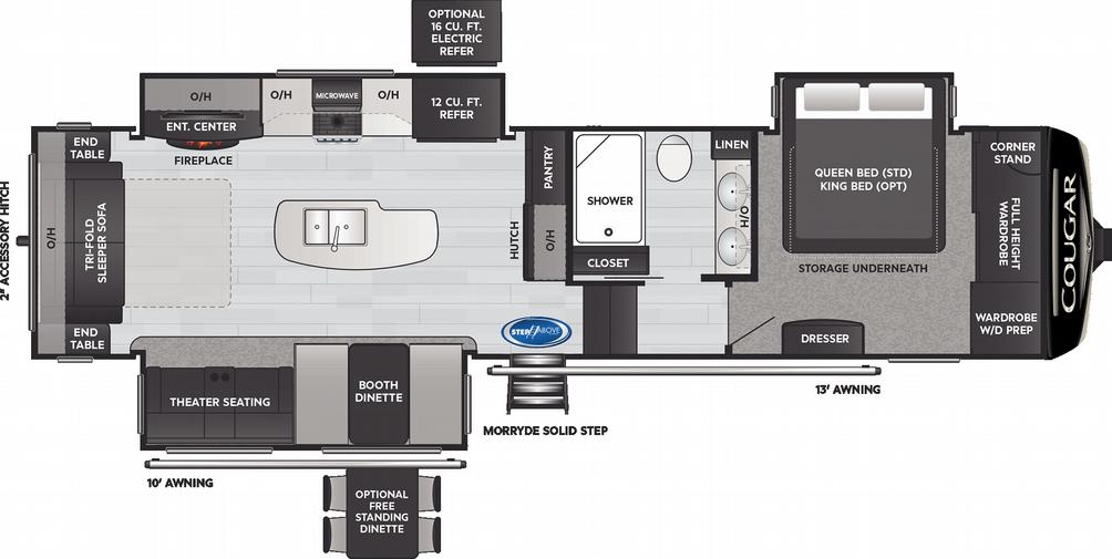 Cougar 316RLS Floor Plan - 2021