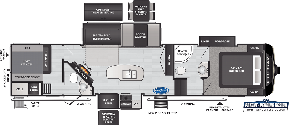 Cougar 364BHL Floor Plan - 2021