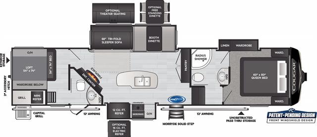 Cougar 364BHL Floor Plan - 2021