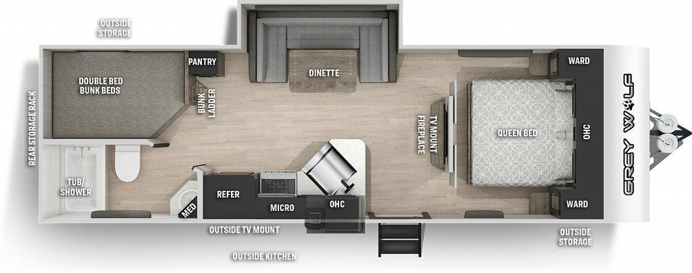Grey Wolf 23DBH Floor Plan - 2021