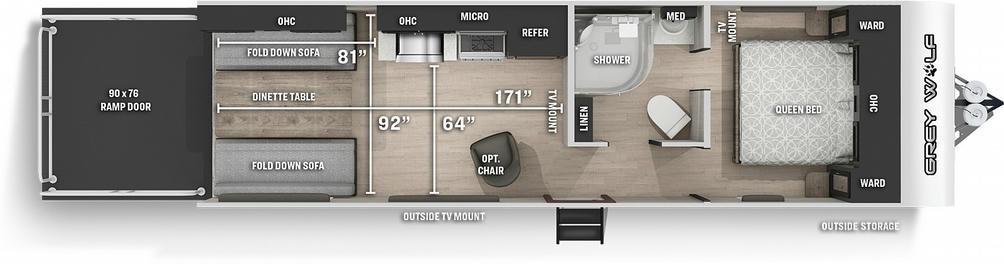 Grey Wolf 25RRT Floor Plan - 2021
