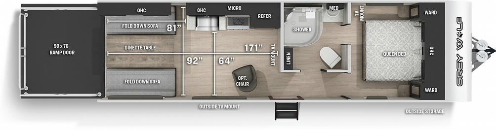 Grey Wolf 25RRTBL Black Label Floor Plan - 2021