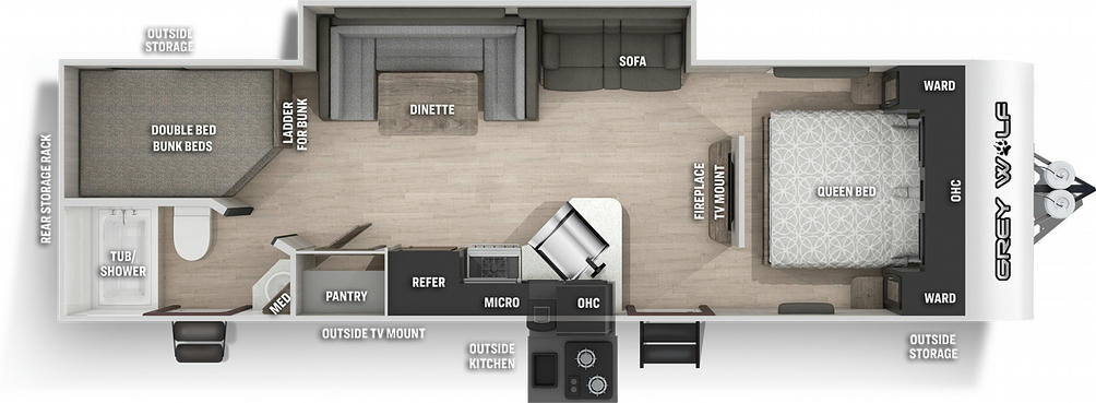 Grey Wolf 26DBH Floor Plan - 2021