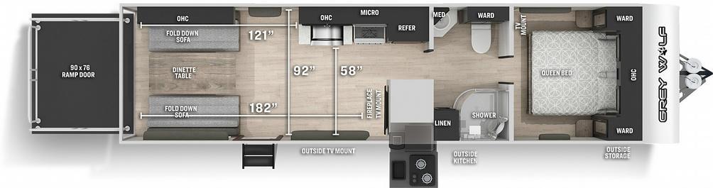 Grey Wolf 26MBRR Floor Plan - 2021