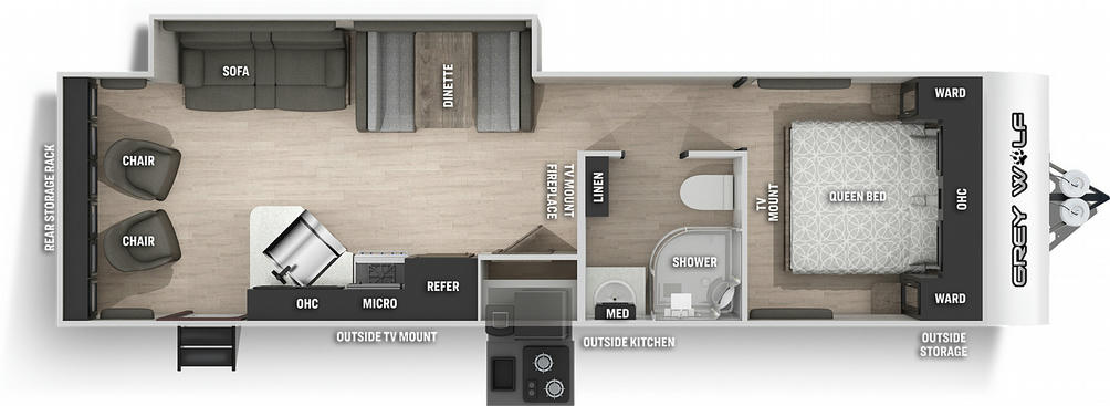 Grey Wolf 26MK Floor Plan - 2021