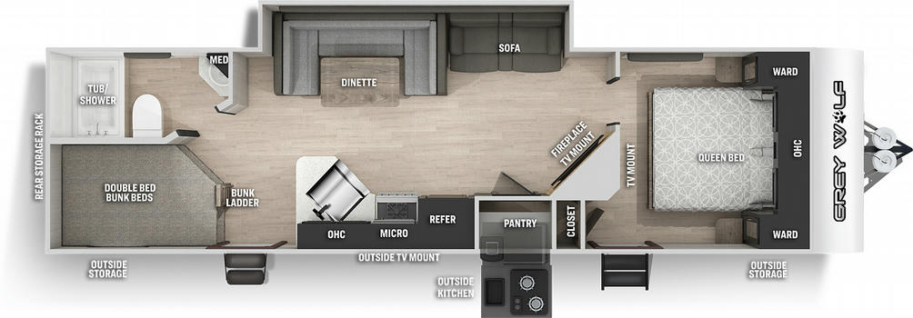 Grey Wolf 27DBH Floor Plan - 2021