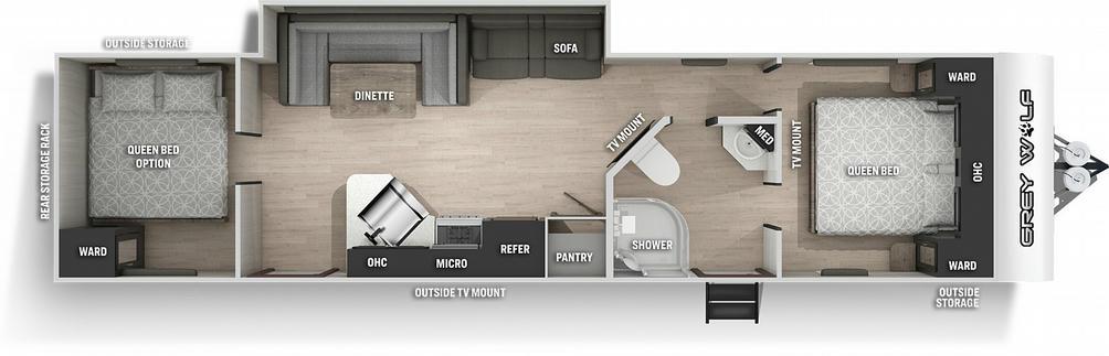 Grey Wolf 29QB Floor Plan - 2021