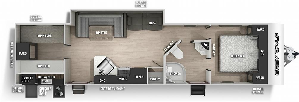 Grey Wolf 29TE Floor Plan - 2021
