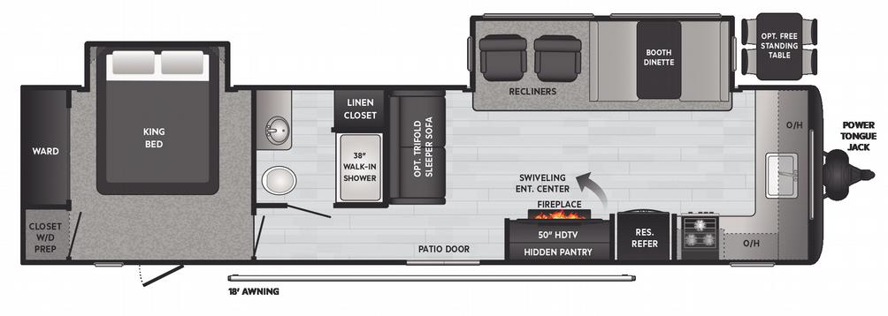 Hideout 38' 34FKDS Floor Plan - 2021