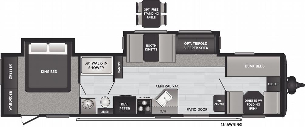 Hideout 38' 38BHDS Floor Plan - 2021