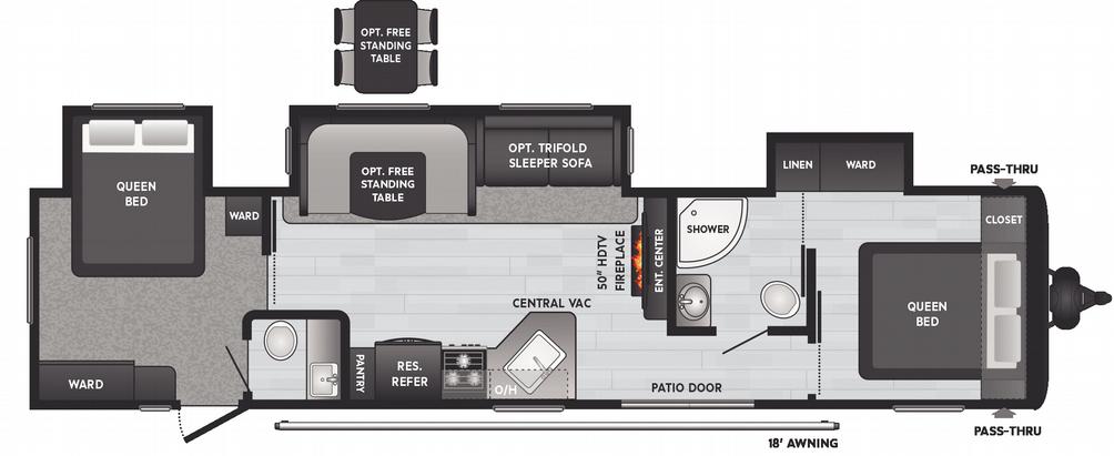Hideout 38' 38FQTS Floor Plan - 2021