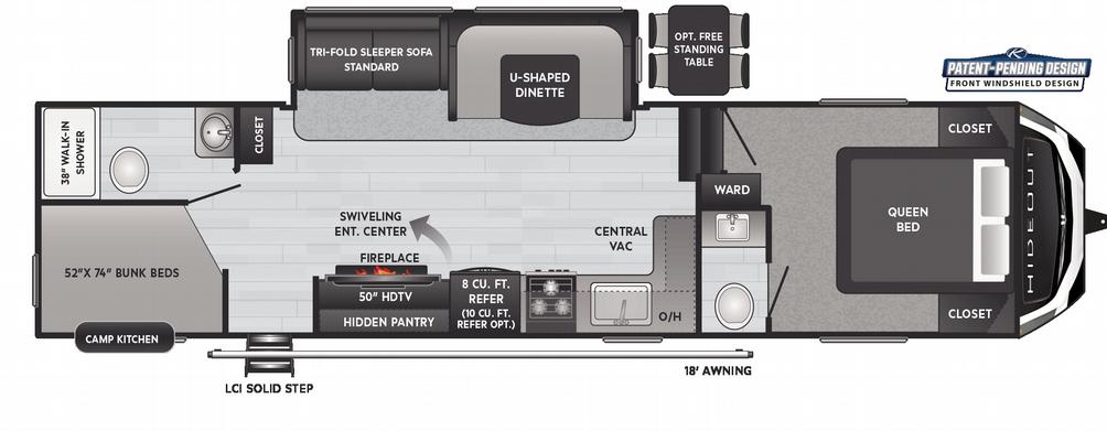Hideout Fifth Wheel 301DBS Floor Plan - 2021