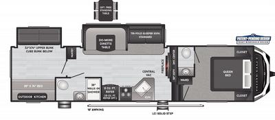 Hideout Fifth Wheel 308BHDS Floor Plan - 2021