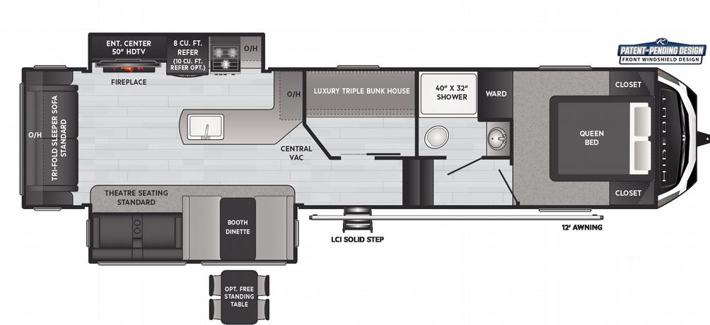 Hideout Fifth Wheel 320MBDS Floor Plan - 2021