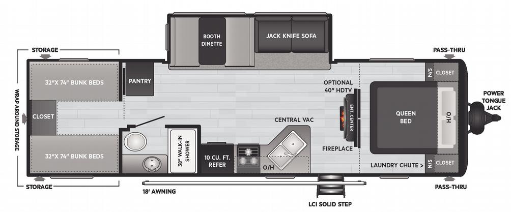 Hideout LHS 290QB Floor Plan - 2021