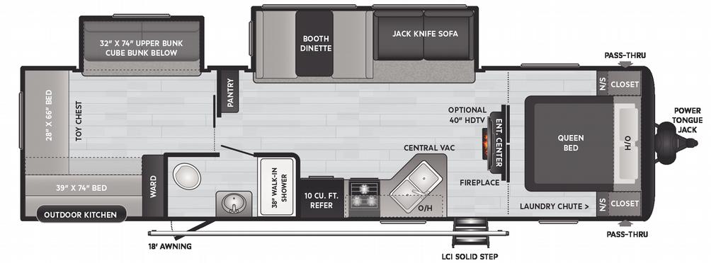 Hideout LHS 318BR Floor Plan - 2021