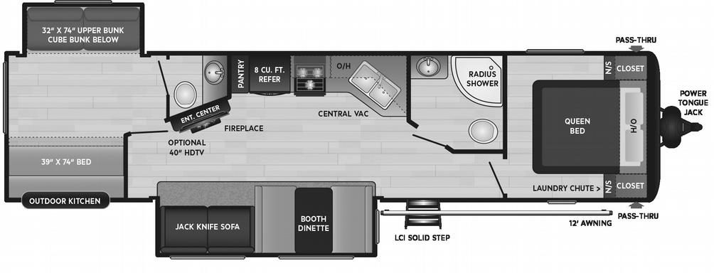 Hideout LHS 338BR Floor Plan - 2021