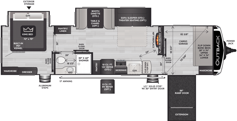 Outback 342CG Floor Plan - 2021