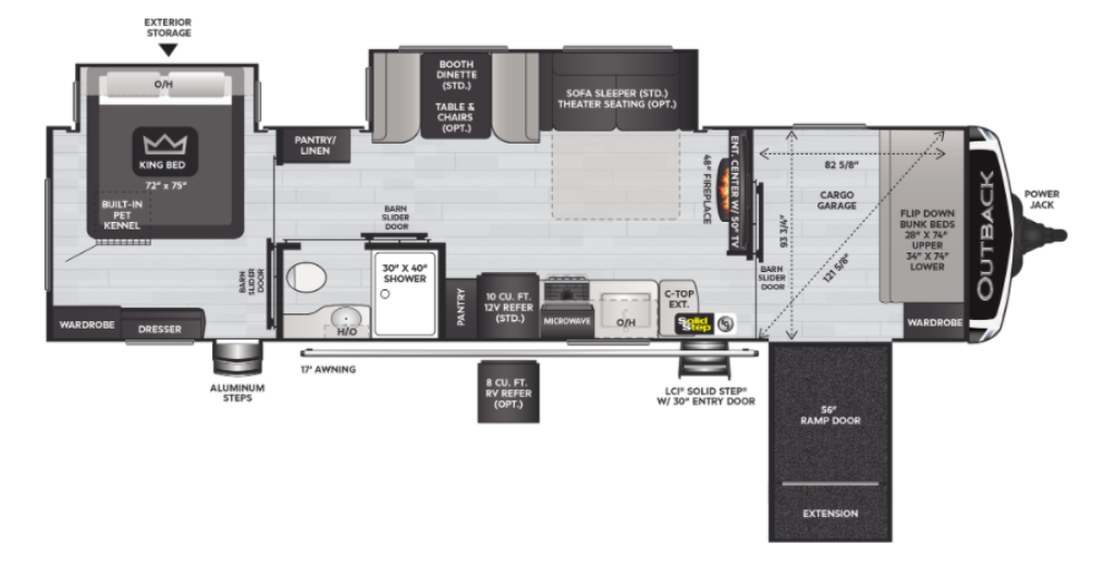 Outback 342CG Floor Plan - 2021