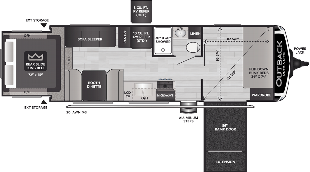 Outback Ultra Lite 240URS Floor Plan - 2021