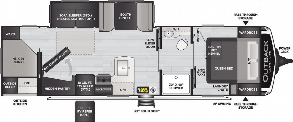 Outback Ultra Lite 291UBH Floor Plan - 2021