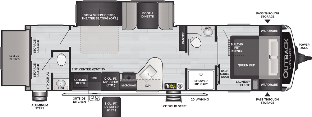 Outback Ultra Lite 301UBH Floor Plan - 2021