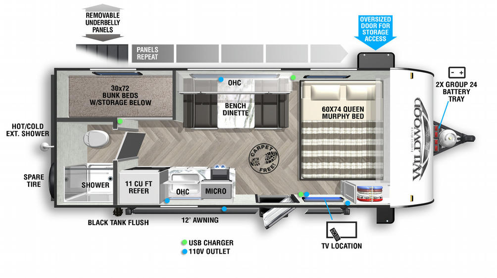 Wildwood FSX 177BH Floor Plan - 2021