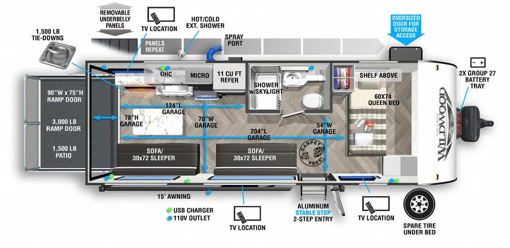 Wildwood FSX 190RT Floor Plan - 2021