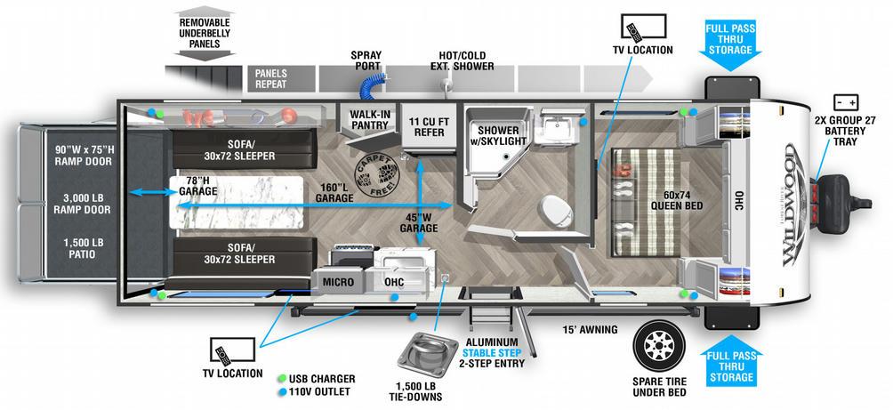 Wildwood FSX 210RTX Floor Plan - 2021