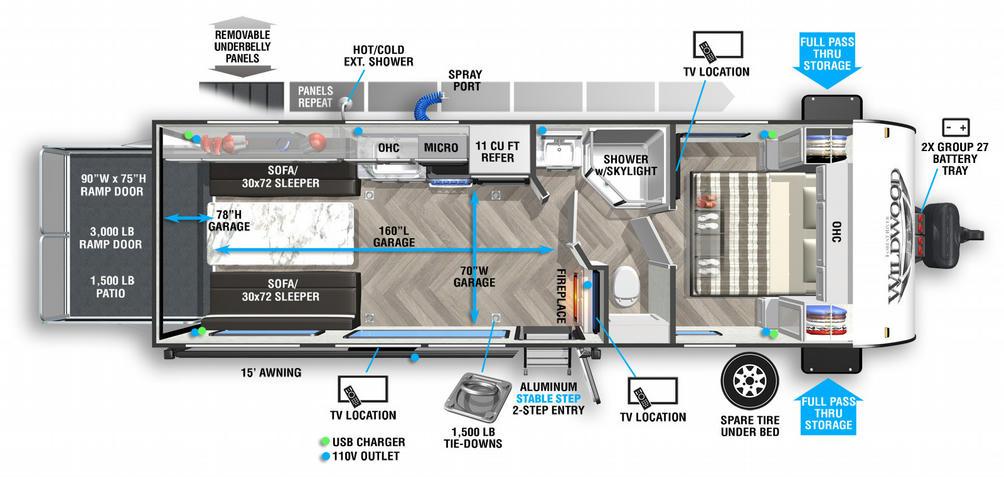 Wildwood FSX 260RT Floor Plan - 2021