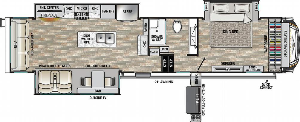 Cedar Creek Champagne 38EL Floor Plan - 2021