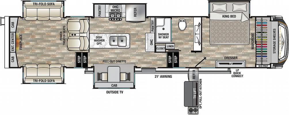 Cedar Creek Champagne 38ERD Floor Plan - 2021