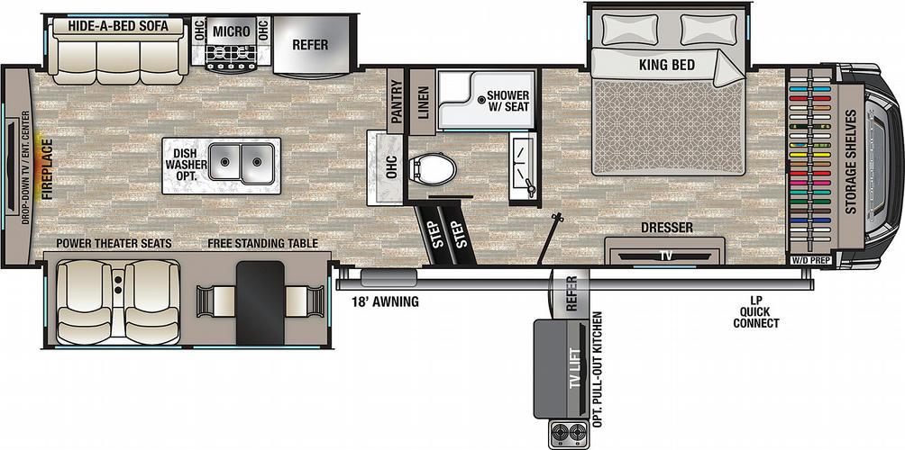 Cedar Creek 291RW Floor Plan - 2021