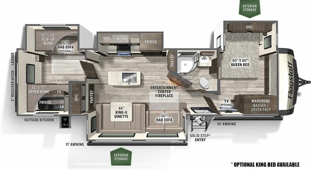 Flagstaff Classic Super Lite 832BWS Floor Plan - 2021