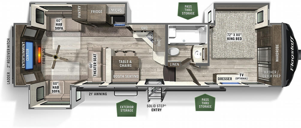 Flagstaff Classic Super Lite 8529RLS Floor Plan - 2021